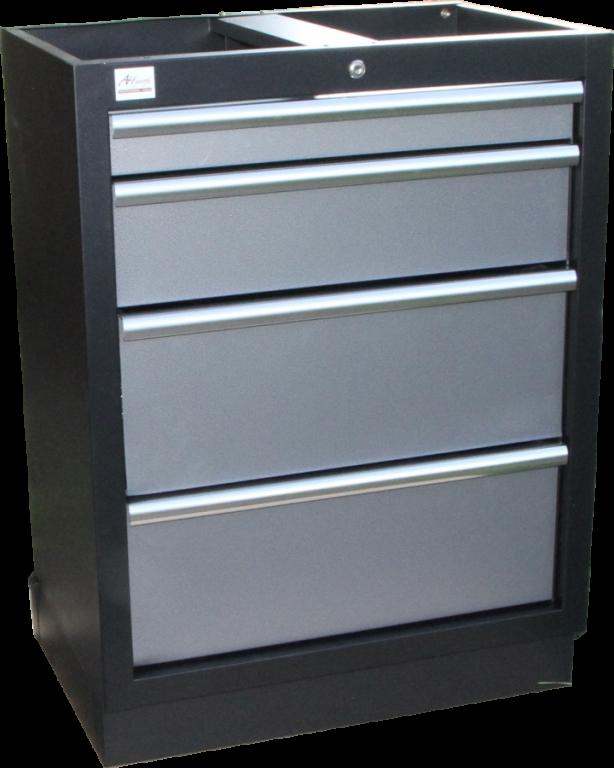 Celokovová dílenská skříňka PROFI se 4-mi šuplíky 680x910x458 mm - TGC1304