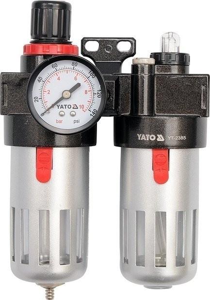 """Regulátor tlaku vzduchu 1/4"""", max. 0,93 MPa, s filtrem (90 ml) a přimazáváním (60 ml) - YT-2385"""