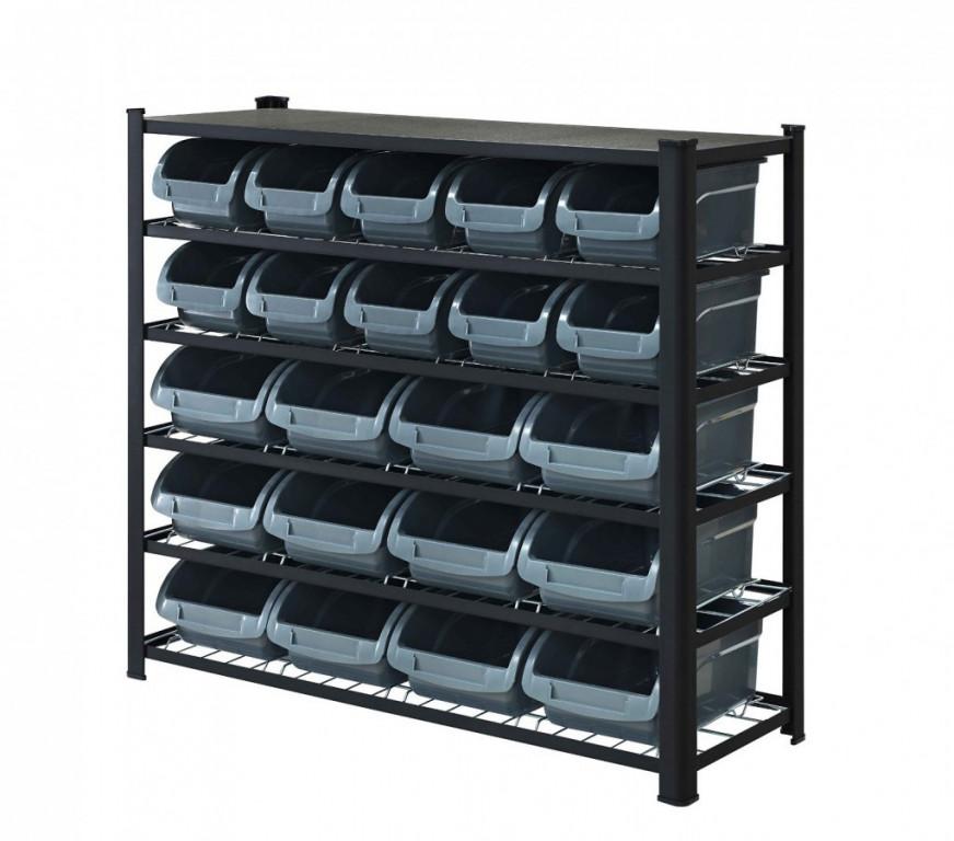 Kovový policový regál s plastovými boxami 22 ks, 6 polic (6/22) - SBRHD2250