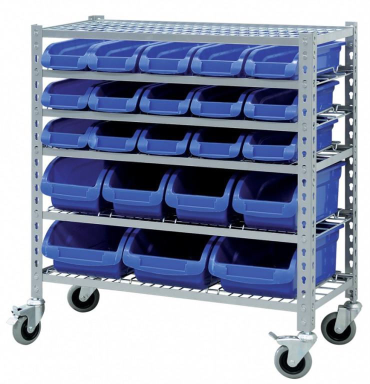 Pojízdný kovový policový regál s plastovými boxy 22 ks, 6 polic (6/22) - SBRHD2251