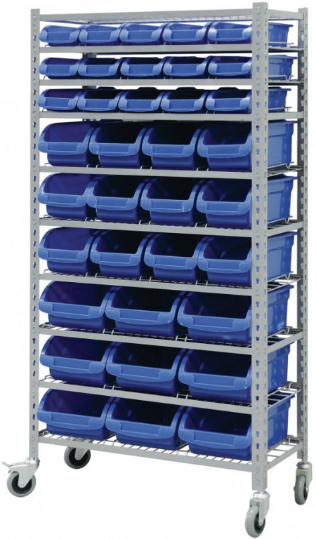 Pojízdný kovový policový regál s plastovými boxy 36 ks, 10 polic (10/36) - SBRHD3691