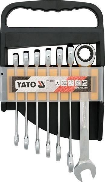 Sada očkoplochých klíčů, ráčnové - 7ks, 10-19 mm (YT-0208)