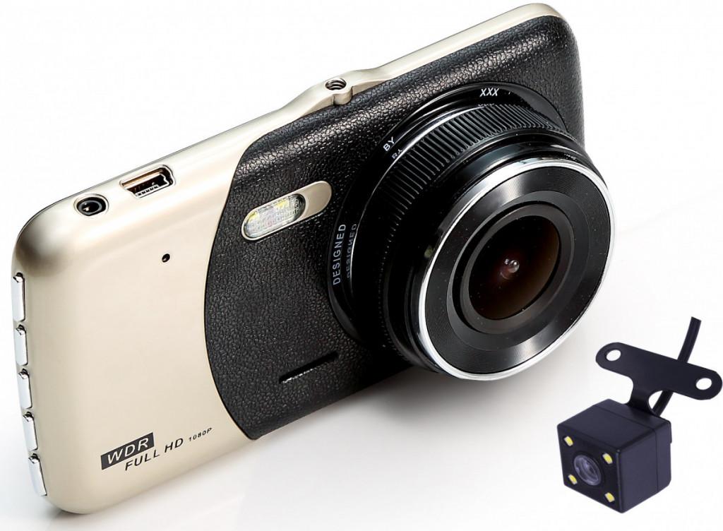 Dvojitá záznamová HD kamera do auta + parkovací kamera - DC01