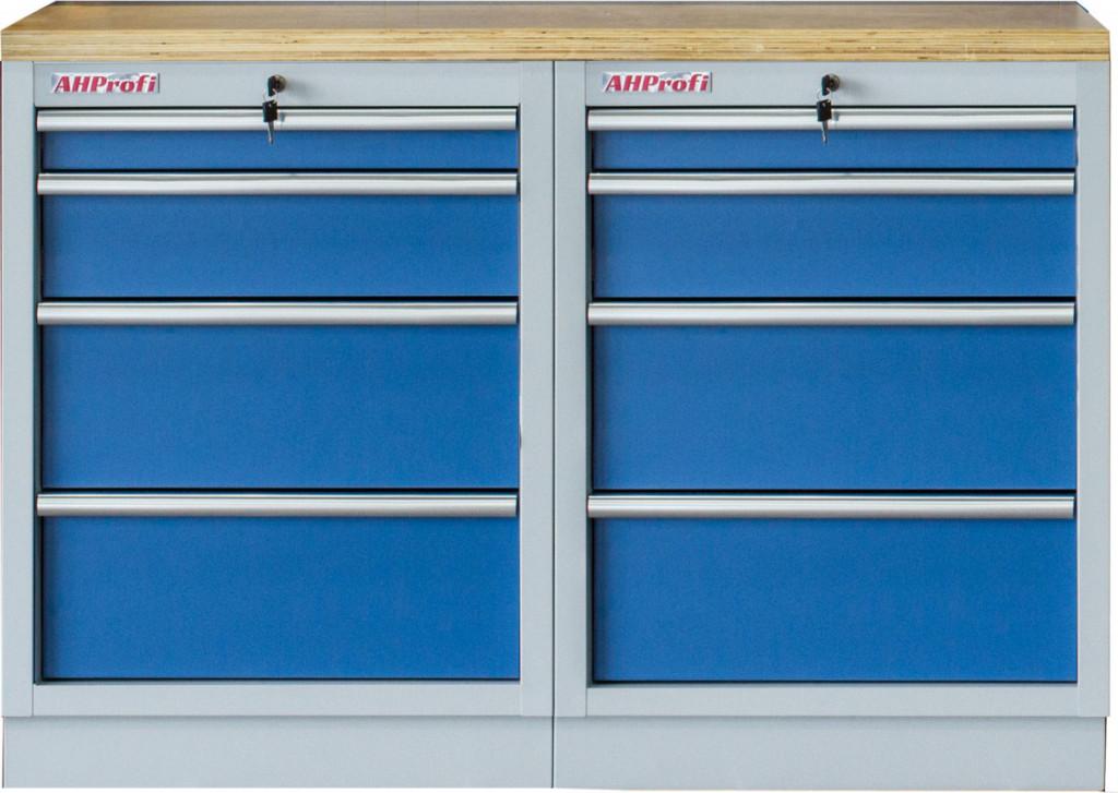 Sestava kvalitních PROFI BLUE dílenských skříněk s pracovní deskou - MTGS1300BAL10