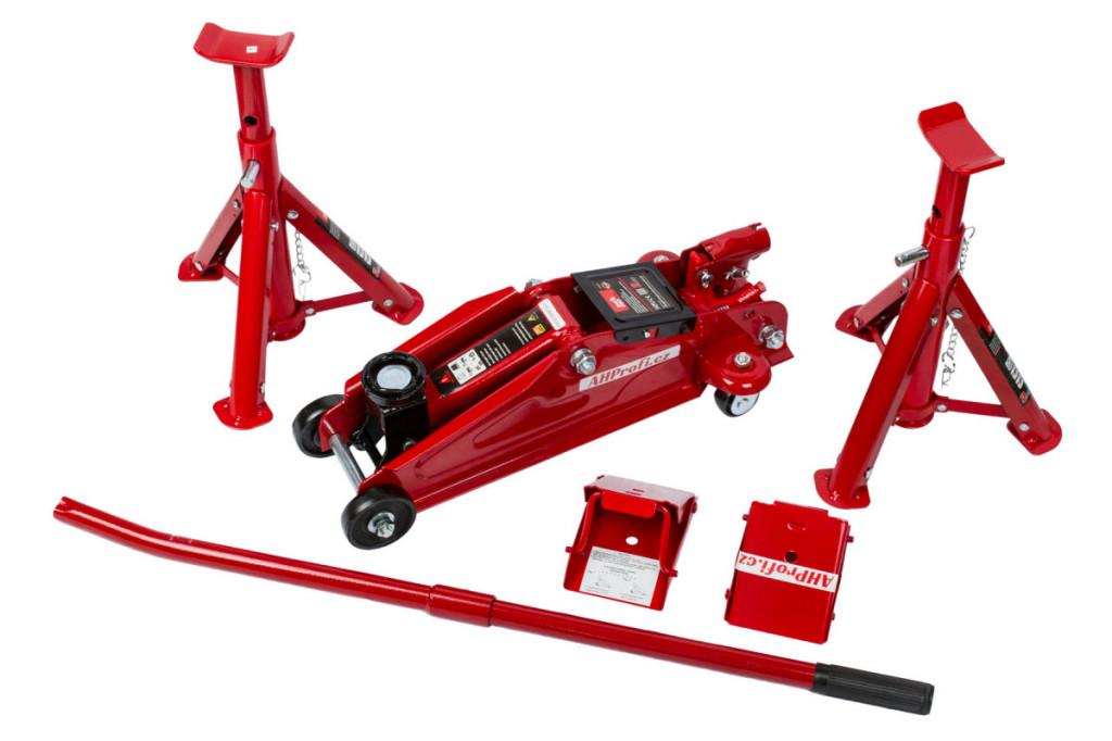 Sada pojízdného zvedáku, stavitelné podpěry (pár) a bezpečnostního klínu (pár) 2t BR82000C+BR42004+BR3553