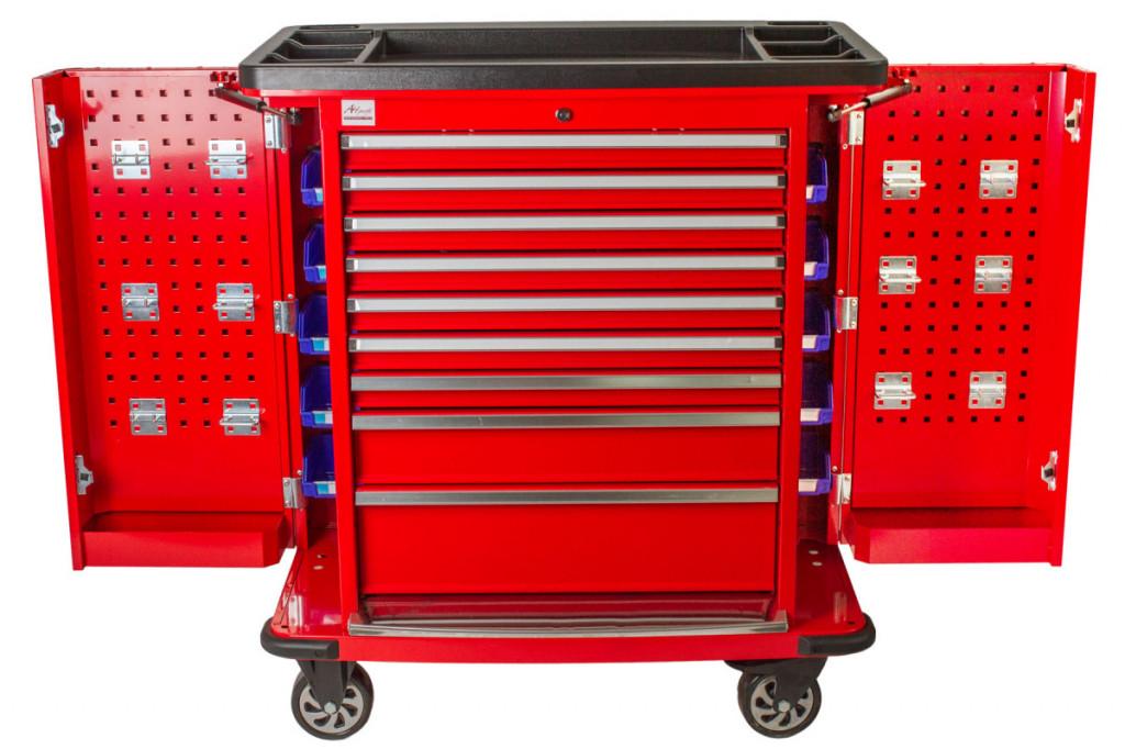 Dílenský vozík Titan s nářadím 405 ks, červený - TBR0109-XBAL2