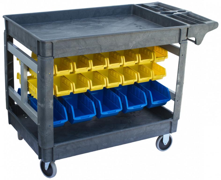 Dílenský vozík s boxy 950 x 650 x 855 mm, 42 boxů - PSB9565