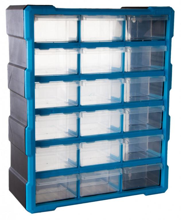 Plastový organizér / box na šroubky, 18 rozdělovníků - MW1506