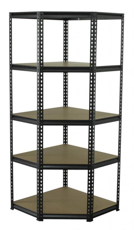 Rohový policový regál, 5 polic - 1830 x 730 x 730 mm - AH017