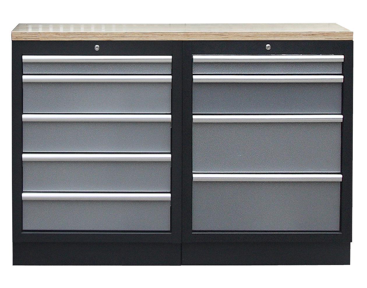 Sestava kvalitních PROFI dílenských skříněk s pracovní deskou - TGS1300BAL09