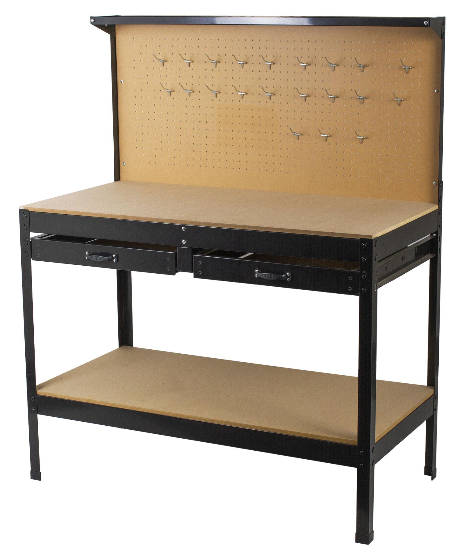 Pracovní stůl ECONOMY s děrovanou deskou, dvěma šuplíky a odkládacím prostorem - WT1002A