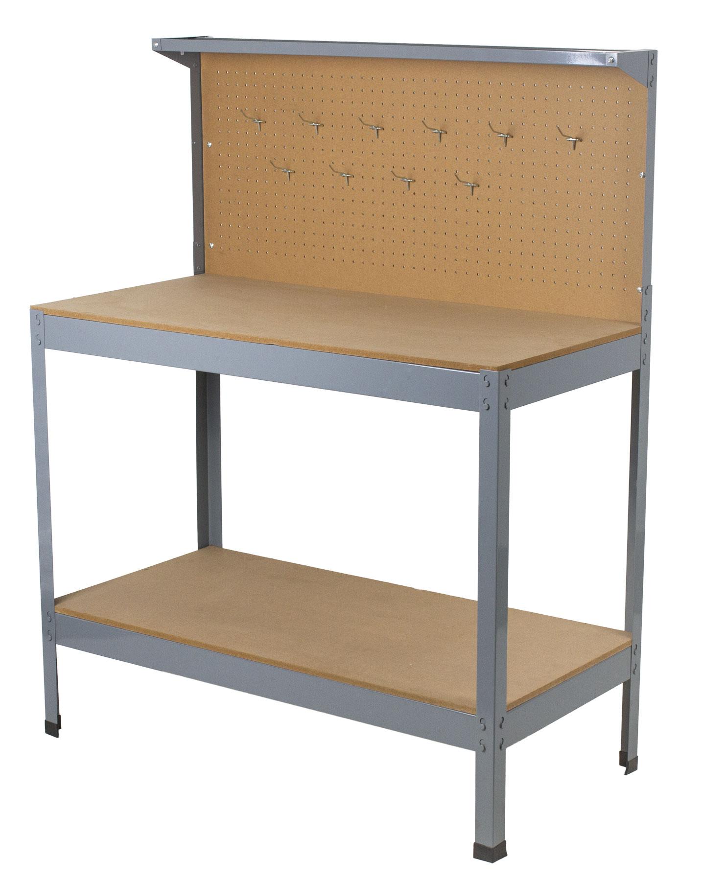 Pracovní dílenský stůl ECONOMY s děrovanou deskou a úložným prostorem - WT4300